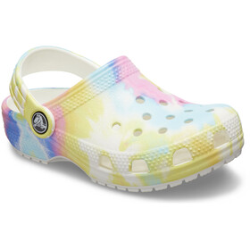 Crocs Classic Tie Dye Graphic Clogs Niños, white/multi
